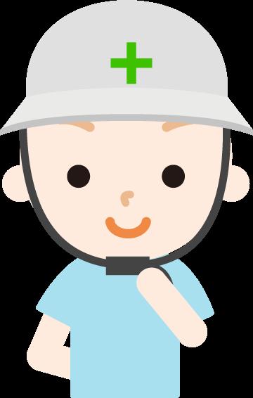 ヘルメットを被った男の子のイラスト
