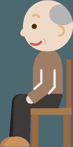 椅子に座るおじいちゃんのイラスト横向き Illaletイラレット