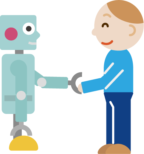 男性とロボットが握手するイラスト Illaletイラレット