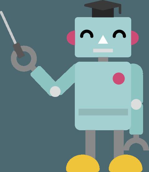 博士帽を被り説明するロボットのイラスト4 Illaletイラレット