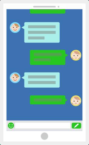 チャットアプリ画面のスマホのイラスト2 Illaletイラレット