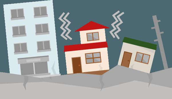 地震で建物が揺れるイラスト Illaletイラレット