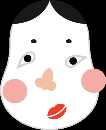 おかめの福笑いの意イラスト2 | ...