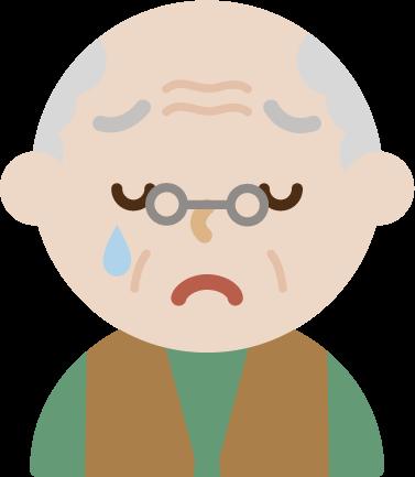 後期高齢者の男性が泣いているイラスト
