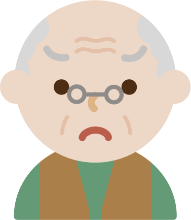 後期高齢者の男性が怒っているイラスト