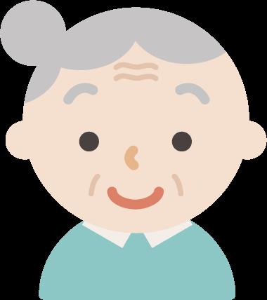 後期高齢者の女性が微笑んでいるイラスト