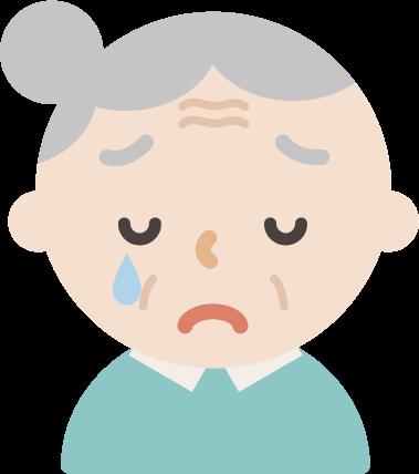 後期高齢者の女性が泣いているイラスト