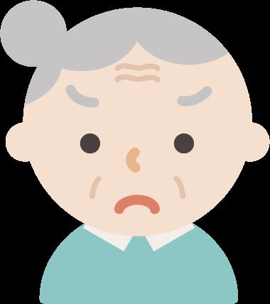 後期高齢者の女性が怒っているイラスト