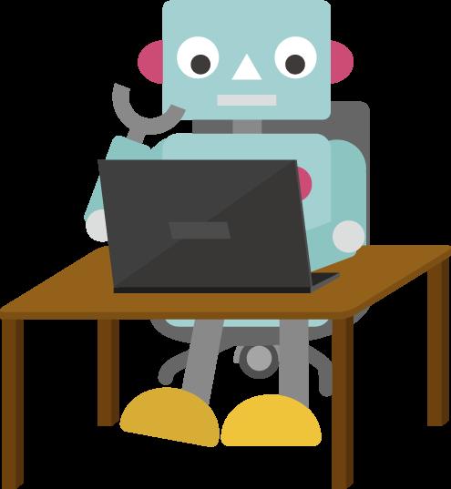 Pcで作業するロボットのイラスト1 Illaletイラレット