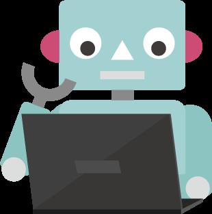 Pcで作業するロボットのイラスト2 Illaletイラレット