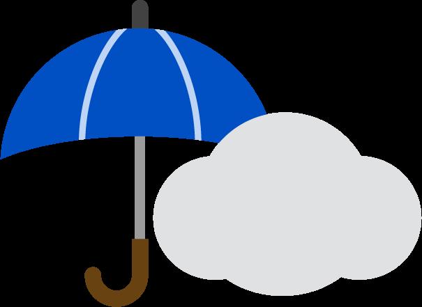 雨のち曇りお天気アイコンのイラスト