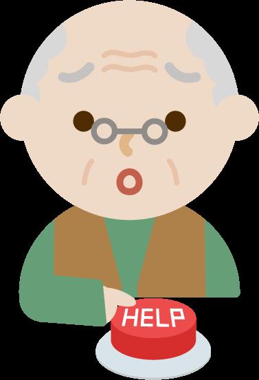 緊急救助用のIoTボタンを押す後期高齢者のイラスト