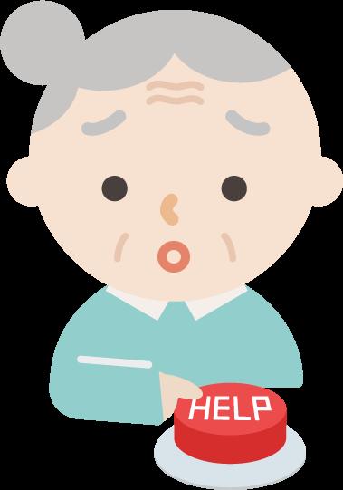 緊急救助用「HELP」のIotボタンを人差し指で押すイラスト