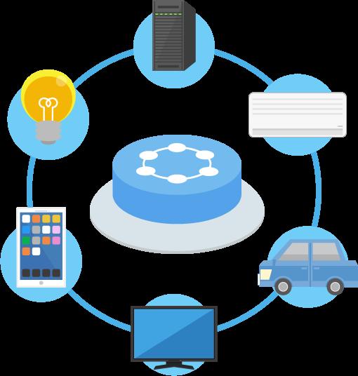 IoT(Internet of Things)をイメージしたイラスト。IoTボタン。