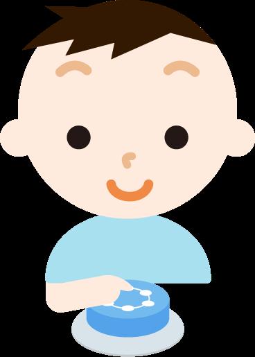 IoTボタンを押す男の子のイラスト1