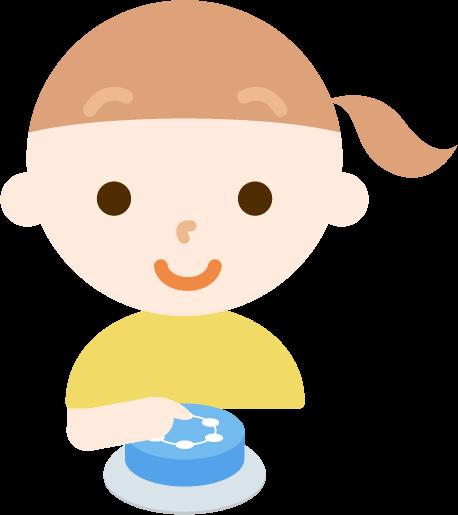 IoTボタンを押す女の子のイラスト1