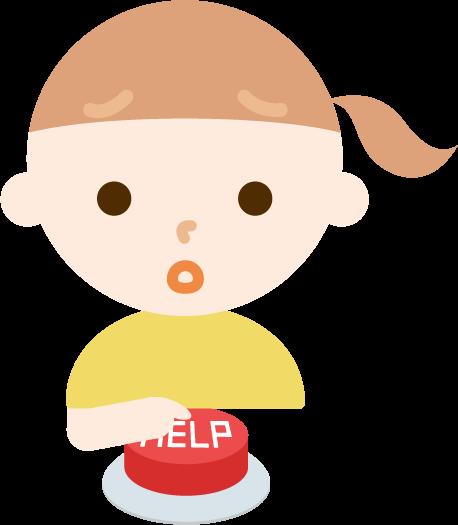 IoTボタンを押す女の子のイラスト3