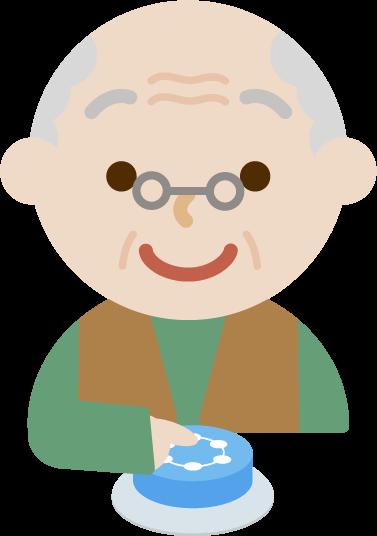 IoTボタンを押す後期高齢者のイラスト1