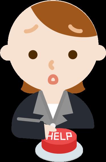 IoTボタンを押す社会人女性のイラスト3