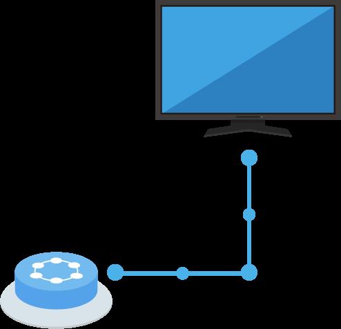 TVとつながるIoTボタンのイラスト