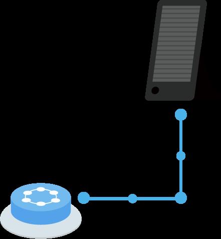 スピーカーとつながるIoTボタンのイラスト | 商用フリーの無料イラスト素材なら「illalet イラレット」