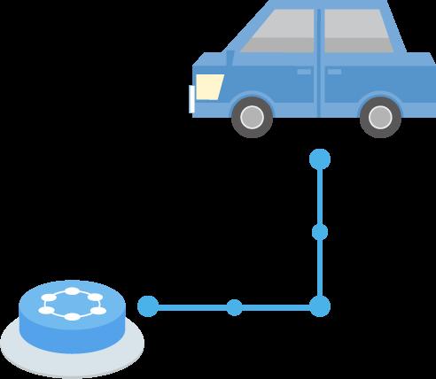 車とつながるIoTボタンのイラスト