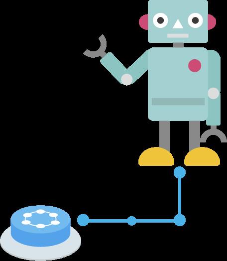 ロボットとつながるIoTボタンのイラスト