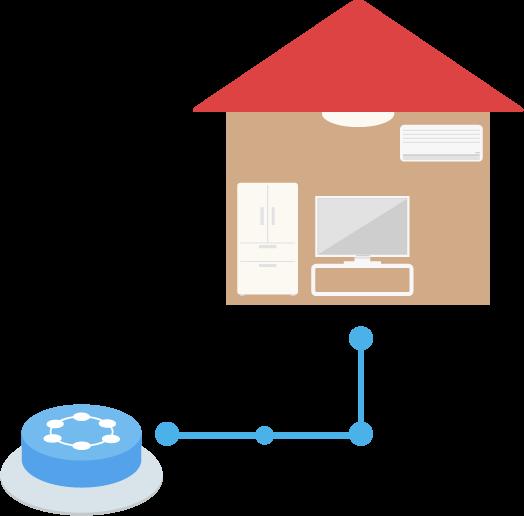 家とつながるIoTボタンのイラスト