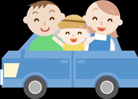 ゴールデンウィークに車で出かける家族のイラスト