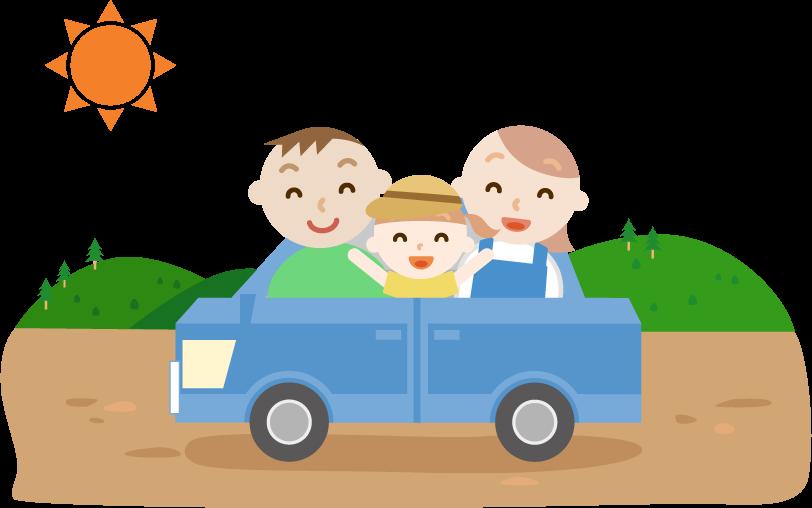 ゴールデンウィークに車で出かける家族のイラスト。山の景色。