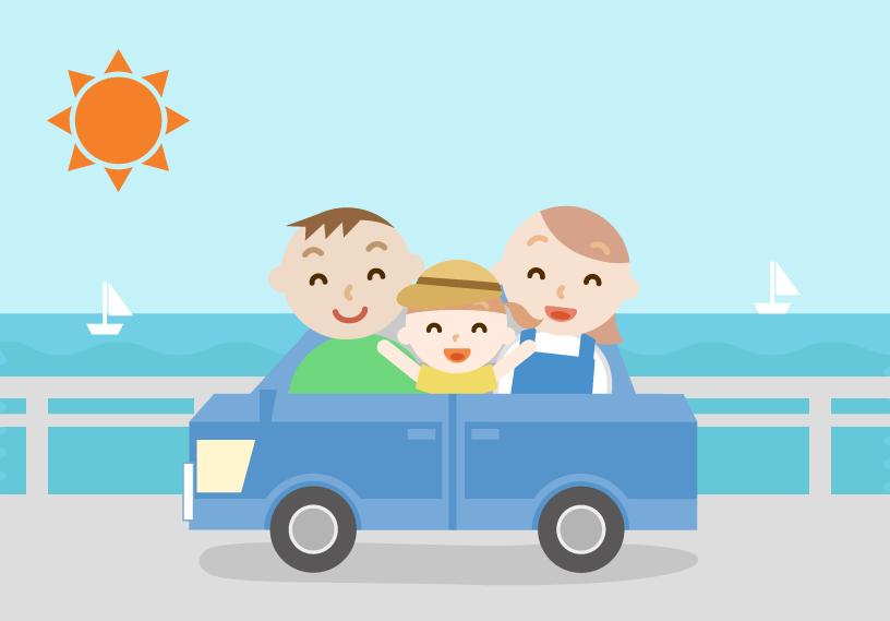 ゴールデンウィークに車で出かける家族のイラスト。海の景色