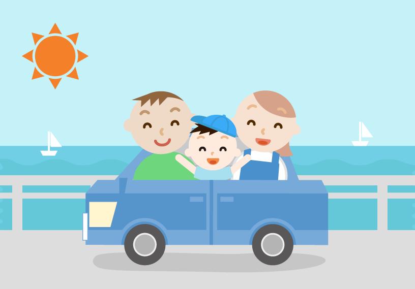 ゴールデンウィークに車で出かける家族のイラスト。海の景色。