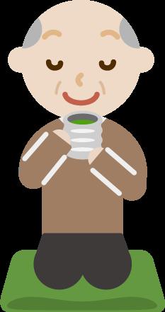 正座をしてお茶を飲む高齢者の男性のイラスト