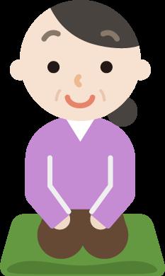 座布団に正座をする中年女性のイラスト