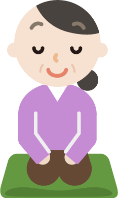 正座をして目を瞑っている中年女性のイラスト