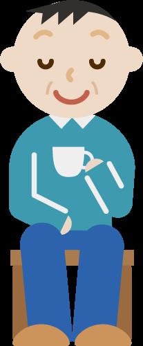 椅子に座ってコーヒーを飲む中年男性のイラスト