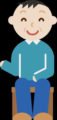 笑顔で椅子に座る中年男性のイラスト