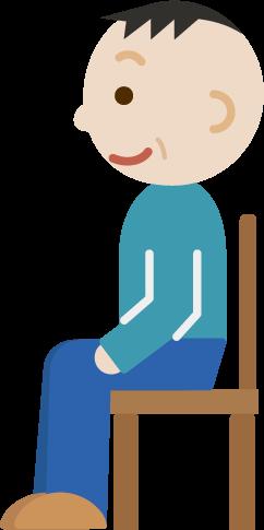 椅子に座る中年男性のイラスト(横向き)