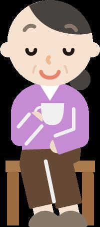 椅子に座ってコーヒーを飲む中年女性のイラスト