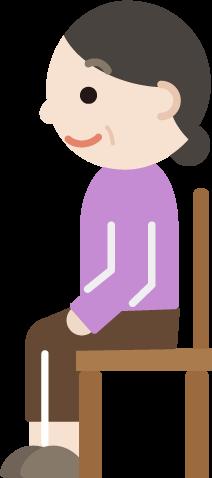 椅子に座る中年女性のイラスト(横向き)