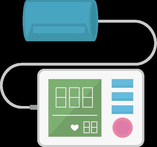 上腕式血圧計のイラスト(巻きつけ型)