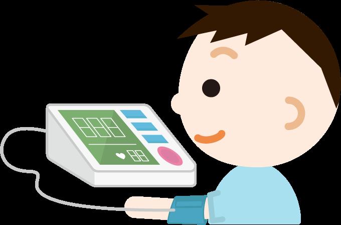 血圧を測る少年のイラスト1