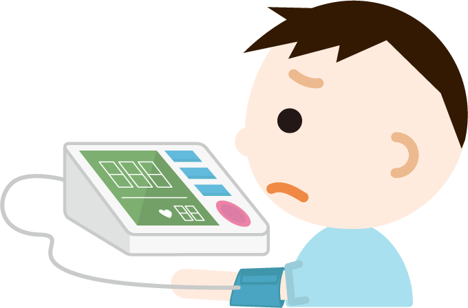 血圧を測る少年のイラスト2