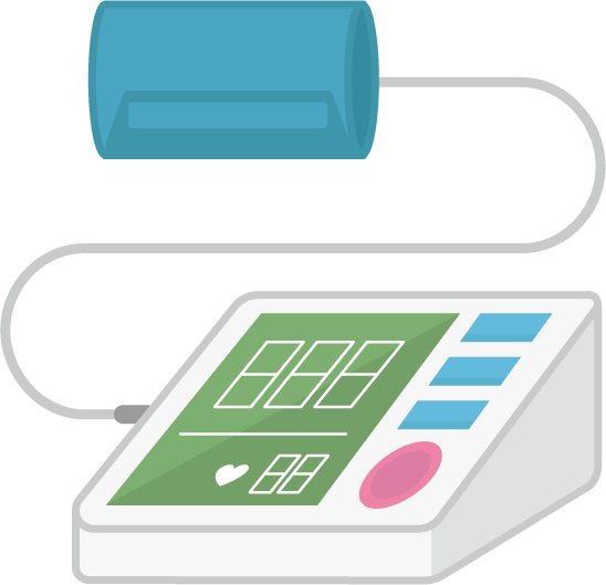 上腕式血圧計のイラスト(巻きつけ型)3