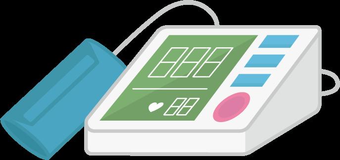 上腕式血圧計のイラスト(巻きつけ型)4