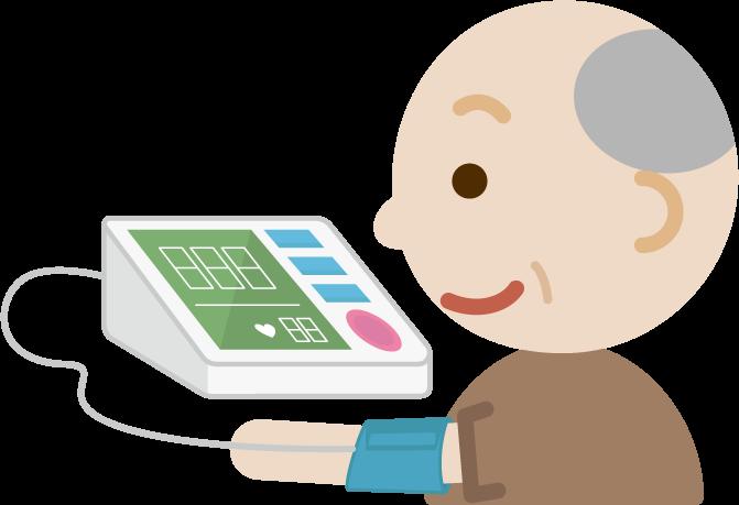 血圧を測る高齢者の男性のイラスト1