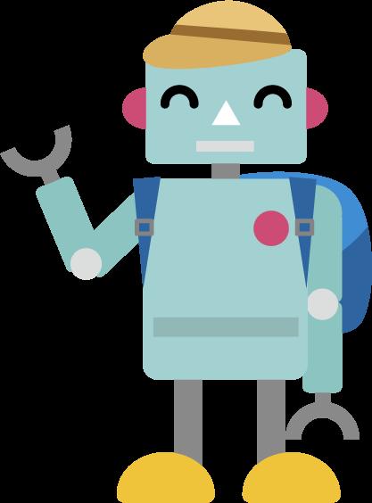 リュックと帽子を身に付けたロボットのイラスト