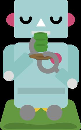 座布団に座ってお茶を飲むロボットのイラスト