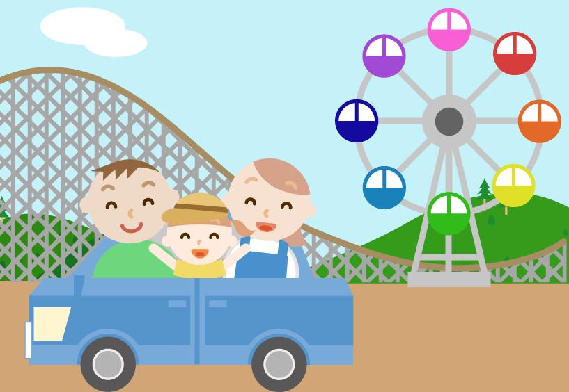 ゴールデンウィークに車で遊園地へ出かける家族のイラスト