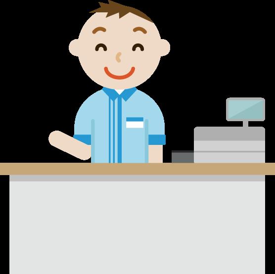 コンビニで働く笑顔の若い男性店員のイラスト